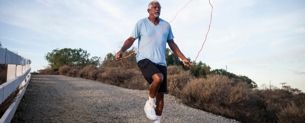 jumping rope is a great way to perform high intensity interval training for seniors